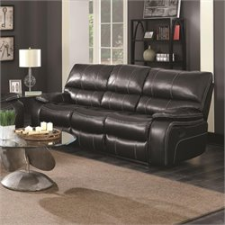 Coaster Willemse Faux Leather Reclining Sofa with Drop Table in Black