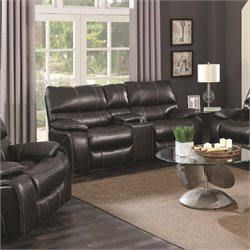 Coaster Willemse Faux Leather Reclining Loveseat with Console in Black