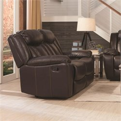 Coaster Bevington Faux Leather Reclining Loveseat in Black