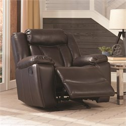 Coaster Bevington Faux Leather Glider Recliner in Chocolate