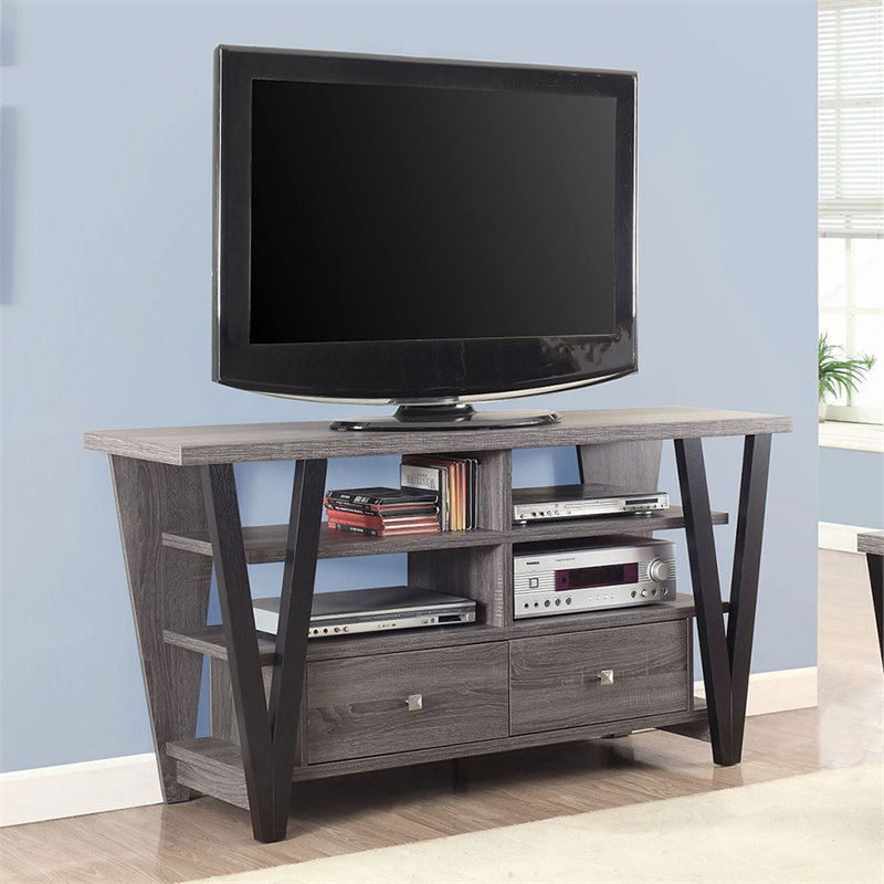 Coaster 60 Tv Stand In Distressed Gray And Black 701015