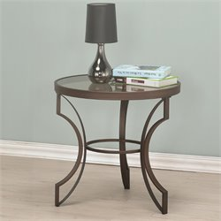 Coaster Fairhaven Round Glass Top End Table in Bronze