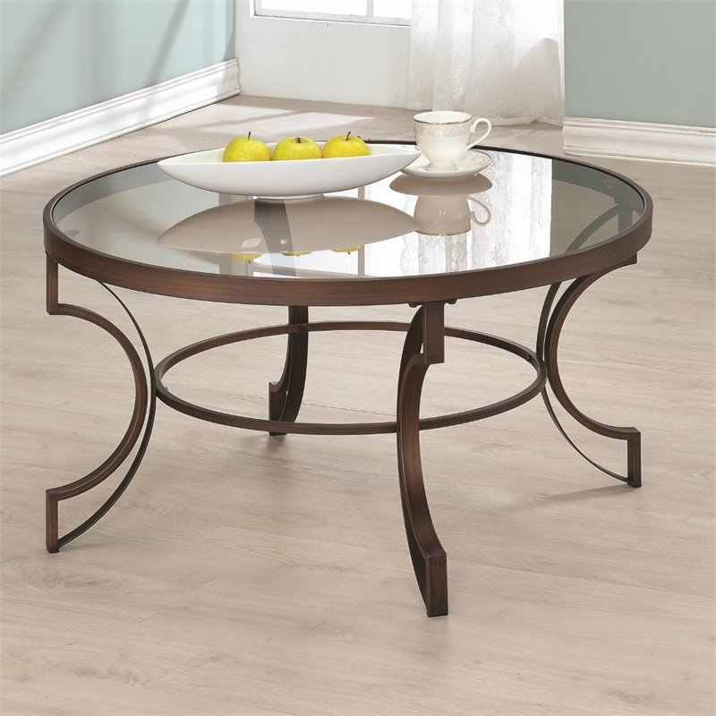 Coaster fairhaven round glass top coffee table in bronze 704458 Coaster coffee tables
