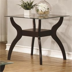 Coaster 1 Shelf Glass Top End Table in Cappuccino