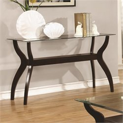Coaster Glass Top Console Table in Cappuccino