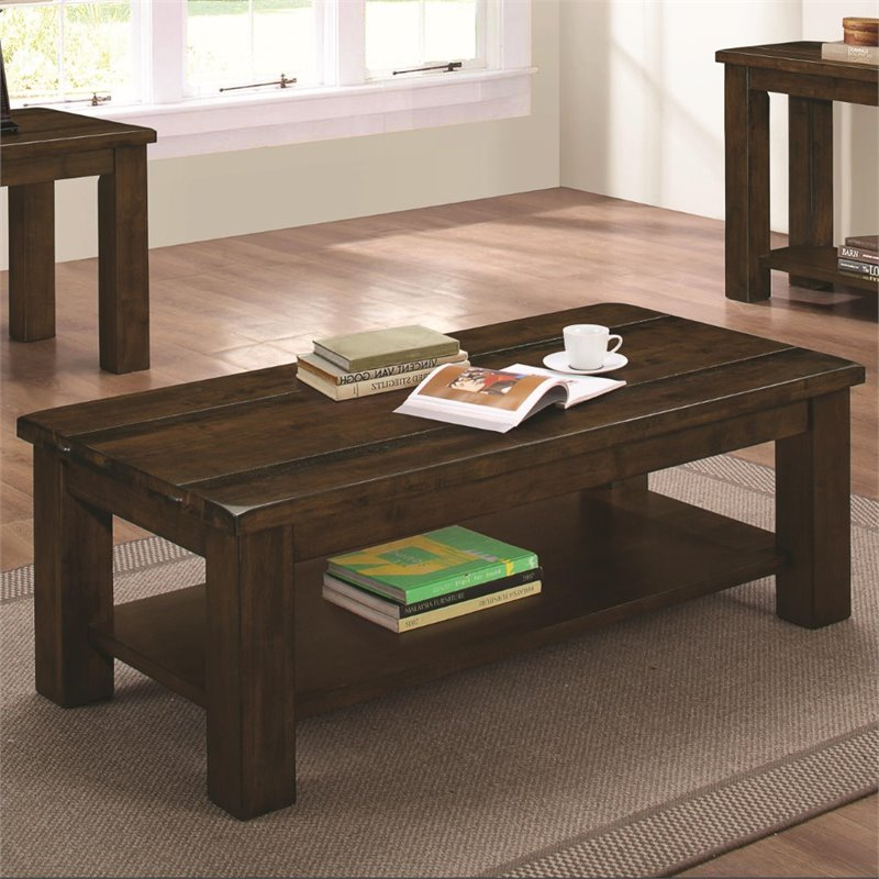 Coaster coffee table in rustic pecan 704748 Coaster coffee tables
