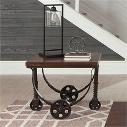 Coaster End Table in Chestnut and Rustic Bronze