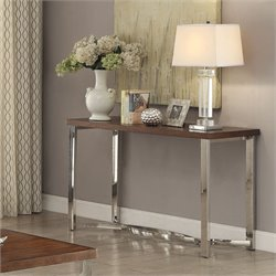 Coaster Console Table in Dark Brown and Chrome