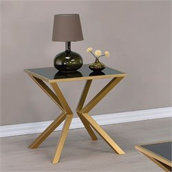 Coaster Glass Top End Table in Brushed Brass