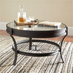 Coaster Round Glass Top Coffee Table in Sandy Black