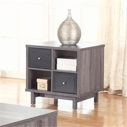 Coaster 2 Drawer End Table in Antique Gray and Black