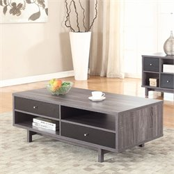Coaster Storage Coffee Table in Antique Gray and Black