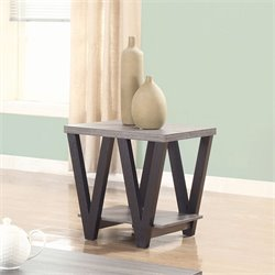 Coaster 1 Shelf End Table in Antique Gray and Black