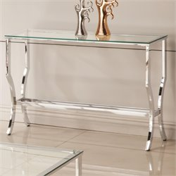 Coaster Glass Top Console Table in Chrome