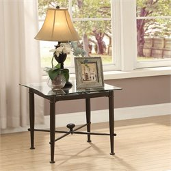 Coaster Glass Top End Table in Antique Bronze