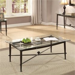 Coaster Glass Top Coffee Table in Antique Bronze