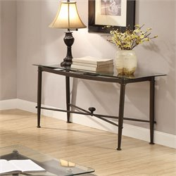 Coaster Glass Top Console Table in Antique Bronze