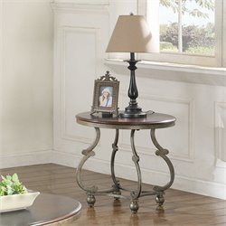 Coaster End Table in Cherry Brown and Antique Pewter