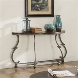 Coaster Console Table in Cherry Brown and Antique Pewter