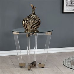 Coaster Round Glass Top End Table in Chocolate Chrome