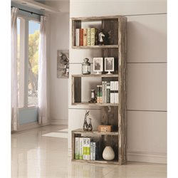 Coaster 5 Shelf Semi Backless Bookcase in Salvaged Cabin