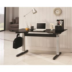 Coaster Adjustable Writing Desk in Black and Silver