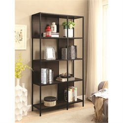 Coaster 4 Shelf Semi Backless Bookcase in Black and Dark Brown
