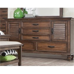 Coaster 5 Drawer Dresser in Burnished Oak