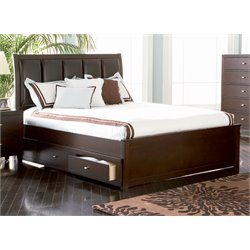 Coaster Faux Leather Panel Bed in Cappuccino