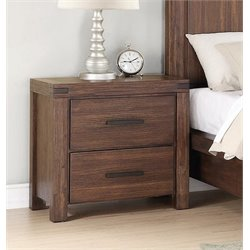 Coaster Lancashire 2 Drawer Nightstand in Wire Brushed Cinnamon