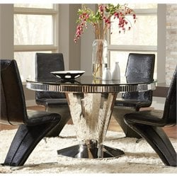 Coaster Round Glass Top Dining Table in Black