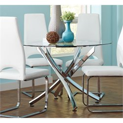 Coaster Round Glass Top Dining Table in Chrome