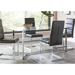 Coaster Glass Top Dining Table in Chrome