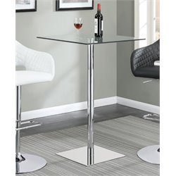 Coaster Square Glass Top Pub Table in Chrome