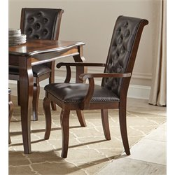 Coaster Williamsburg Upholstered Dining Arm Chair in Roasted Chestnut