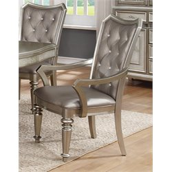 Coaster Upholstered Dining Arm Chair in Metallic Platinum