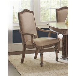 Coaster Upholstered Dining Arm Chair in Cream and Antique Linen