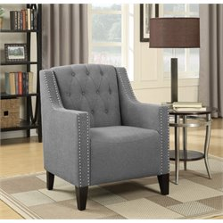 Coaster Upholstered Tufted Accent Chair in Smoke Gray and Black