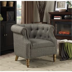 Coaster Upholstered Tufted Accent Chair in Gray