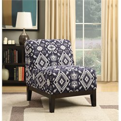 Coaster Upholstered Accent Chair in Dark Blue and Dark Brown