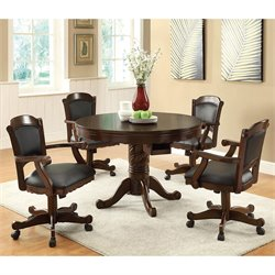 Coaster Turk 5 Piece 3-in-1 Round Poker Table Set in Brown