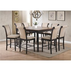 Coaster Cabrillo 5 Piece Counter Height Dining Set in Deep Black