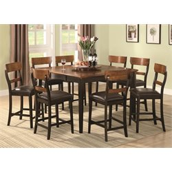 Coaster Franklin 7 Piece Counter Height Dining Set in Brown