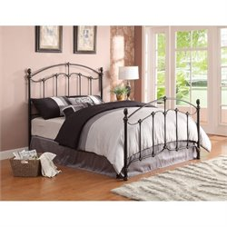 Coaster Yasmine Full Metal Bed with Headboard in Black Brush Gold