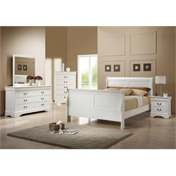 Coaster Louis Philippe 5 Piece Sleigh Bedroom Set in White