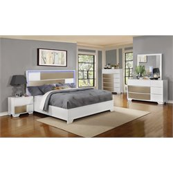 Coaster Havering 4 Piece Panel Bedroom Set in Blanco