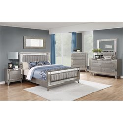 Coaster Leighton 4 Piece Mirrored Panel Bedroom Set in Mercury