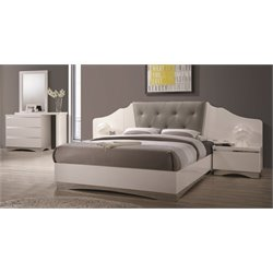 Coaster Alessandro 4 Piece Upholstered Bedroom Set in White