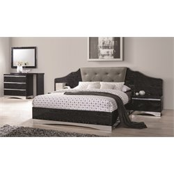 Coaster Alessandro 4 Piece Upholstered Bedroom Set in Black