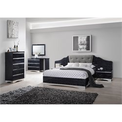 Coaster Alessandro 5 Piece Upholstered Bedroom Set in Black